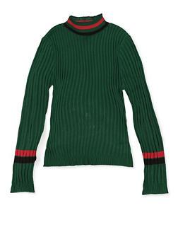 Girls 7-16 Striped Trim Ribbed Sweater - 3625051060004