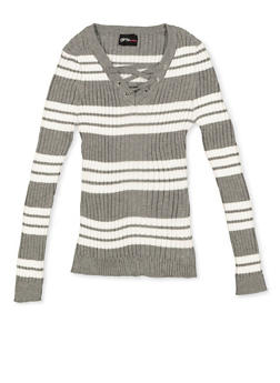 Girls 7-16 Striped Lace Up Sweater - 3625051060010
