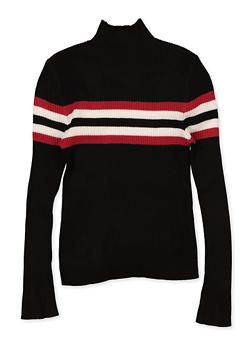 Girls 7-16 Stripe Detail Mock Neck Sweater - 3625051060016