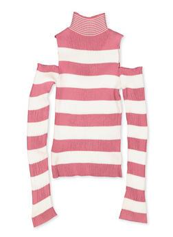Girls 7-16 Cold Shoulder Striped Sweater - 3625051060017