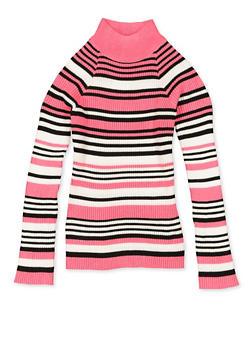 Girls 7-16 Striped Mock Neck Long Sleeve Sweater - 3625051060020