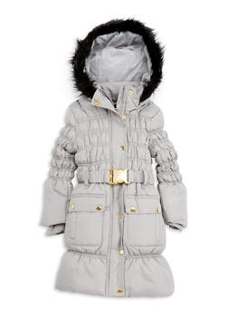 Girls 4-6x Long Bubble Jacket with Faux Fur Hood - 3626038340016