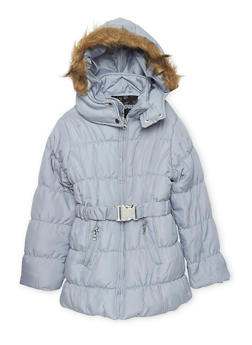 Girls 4-6x Belted Zip Puffer Jacket - 3626038340017