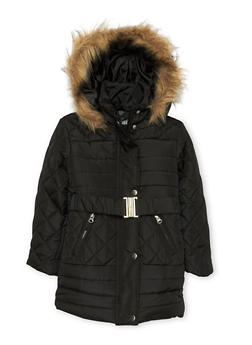 Girls 4-6x Quilted Puffer Jacket with Belt - 3626038340021