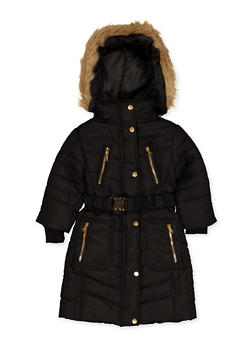 Girls 4-6x Long Belted Puffer Coat - 3626038340031