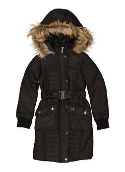 Girls 4-6x Long Belted Puffer Jacket - 3626051060025