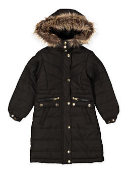 Girls 4-6x Long Faux Fur Hooded Puffer Jacket - 3626051060026