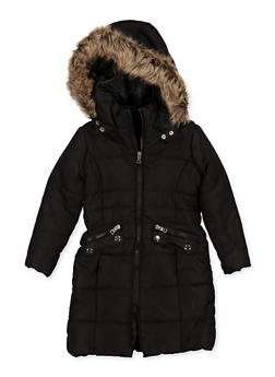 Girls 4-7 Long Hooded Puffer Jacket - 3626051060032