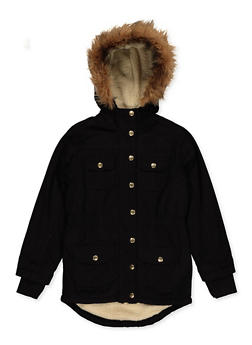 Girls 7-16 Sherpa Lined Twill Anorak Jacket - 3627038340041