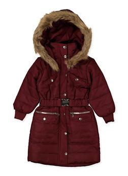Girls 7-16 Long Belted Puffer Jacket - 3627038340045