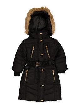 Girls 7-16 Long Belted Puffer Coat - 3627038340046