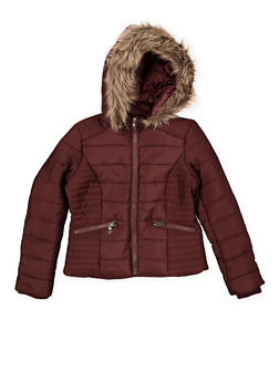 Girls 7-16 Faux Fur Lined Hooded Puffer Jacket - 3627051060037
