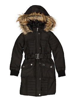 Girls 7-16 Long Belted Puffer Jacket - 3627051060040
