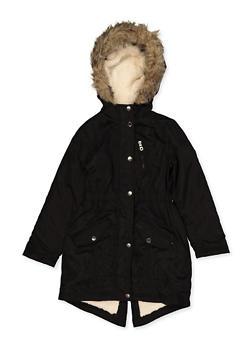Girls 7-16 Sherpa Lined Hooded Jacket | Black - 3627051060048