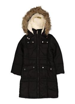 Girls 7-16 Faux Fur Trim Long Puffer Jacket - 3627051060052