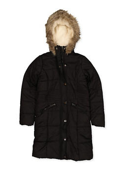 Girls 7-16 Sherpa Lined Long Puffer Jacket - 3627051060053