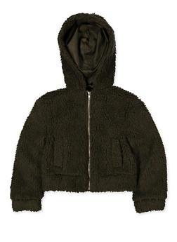 Girls 7-16 Hooded Zip Sherpa Jacket - 3627051060056