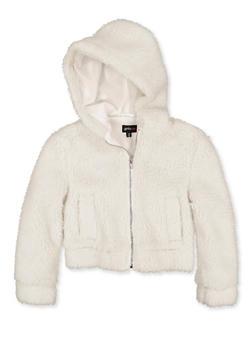 Girls 7-16 Zip Up Hooded Sherpa Jacket - 3627051060057