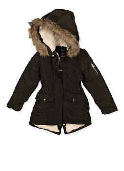 Girls 7-16 Hooded Sherpa Lined Jacket - 3627051060060