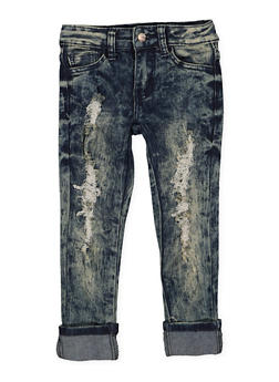 Girls 4-6x Frayed Antique Wash Skinny Jeans - 3628056720015
