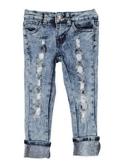 Girls 4-6x Distressed Acid Wash Skinny Jeans - 3628056720017