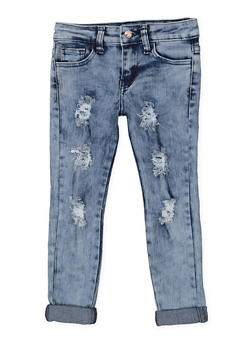 Girls 4-6x Frayed Roll Cuff Jeans - 3628056720021