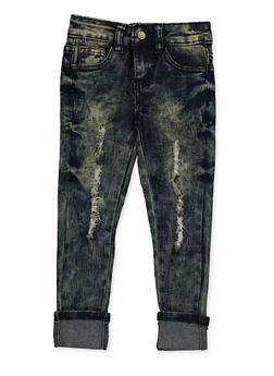 Girls 4-6x Rolled Cuff Distressed Jeans - 3628056720041