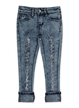 Girls 4-6x Ripped Roll Cuff Jeans - 3628056720042