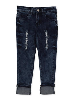 Girls 4-6x Frayed Rolled Cuff Jeans - 3628056720043
