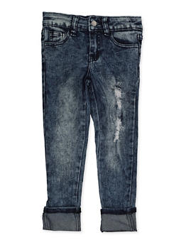Girls 4-6x Rolled Cuff Frayed Jeans - 3628056720044