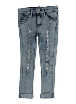 Girls 4-6x Roll Cuff Ripped Jeans - 3628056720046