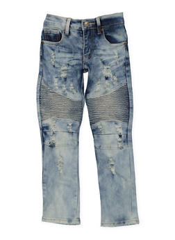 Girls 4-6x Acid Wash Moto Jeans - 3628063400008