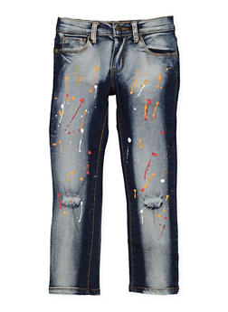 Girls 4-6x Paint Splatter Skinny Jeans - 3628063400025