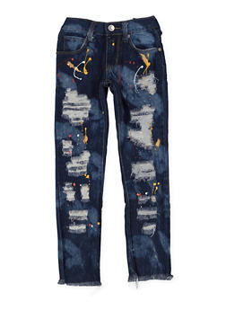 Girls 4-6x Paint Splatter Destroyed Jeans - 3628063400027