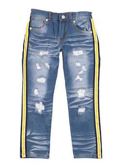 Girls 4-6x Striped Tape Trim Jeans - 3628063400031