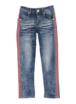 Girls 4-6x Striped Side Tape Skinny Jeans - 3628063400032