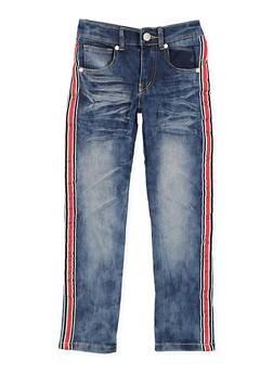 Girls 4-6x Whiskered Stripe Tape Detail Skinny Jeans - 3628063400033