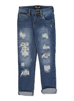 Girls 4-6x Snake Print Insert Jeans - 3628063400050