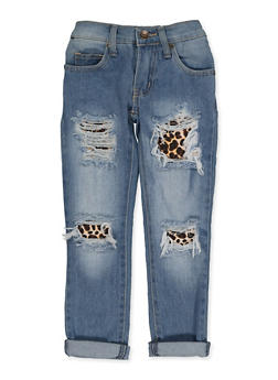 Girls 4-6x Leopard Rip and Repair Jeans - 3628063400051