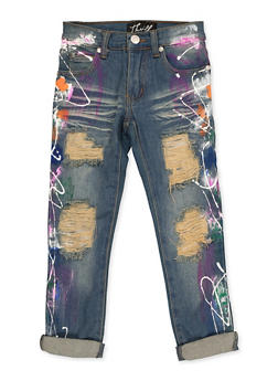 Girls 4-6x Paint Splash Frayed Jeans - 3628063400055