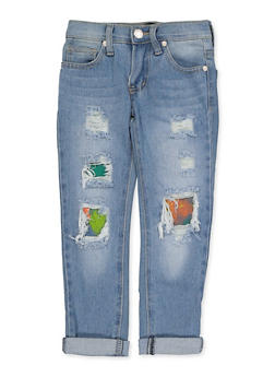 Girls 4-6x Paint Rip and Repair Jeans - 3628063400056