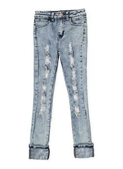 Girls 7-16 Destroyed Acid Wash Skinny Jeans - 3629056720015
