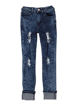 Girls 7-16 Distressed Roll Cuff Skinny Jeans - 3629056720018