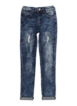 Girls 7-16 Distressed Roll Cuff Skinny Jeans - 3629056720022