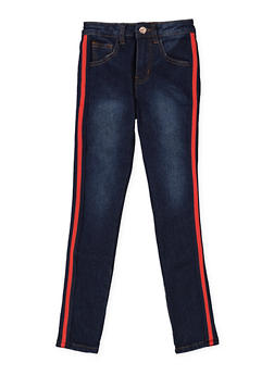 Girls 7-16 Striped Side Tape Skinny Jeans - 3629056720023