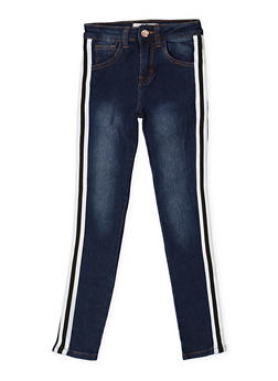 Girls 7-16 Striped Tape Skinny Jeans - 3629056720024