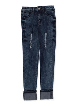 Girls 7-16 Roll Cuff Frayed Jeans - 3629056720037