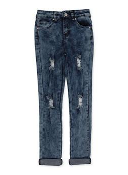 Girls 7-16 Roll Cuff Distressed Jeans - 3629056720039