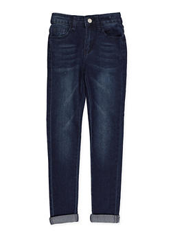 Girls 7-16 Roll Cuff Whisker Wash Jeans - 3629056720043