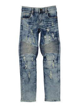 Girls 7-16 Distressed Moto Jeans - 3629063400037